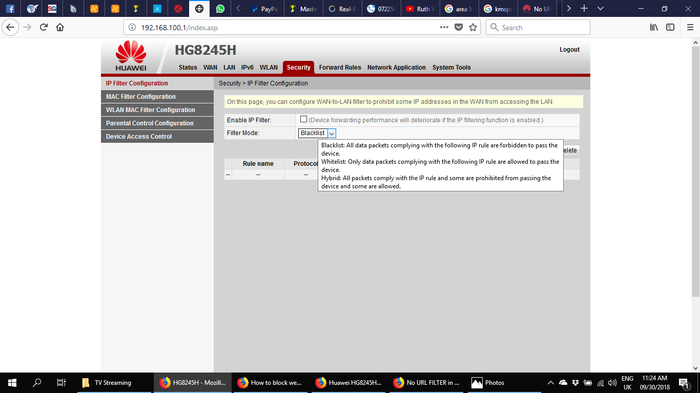 No URL FILTER in HG8245H Security