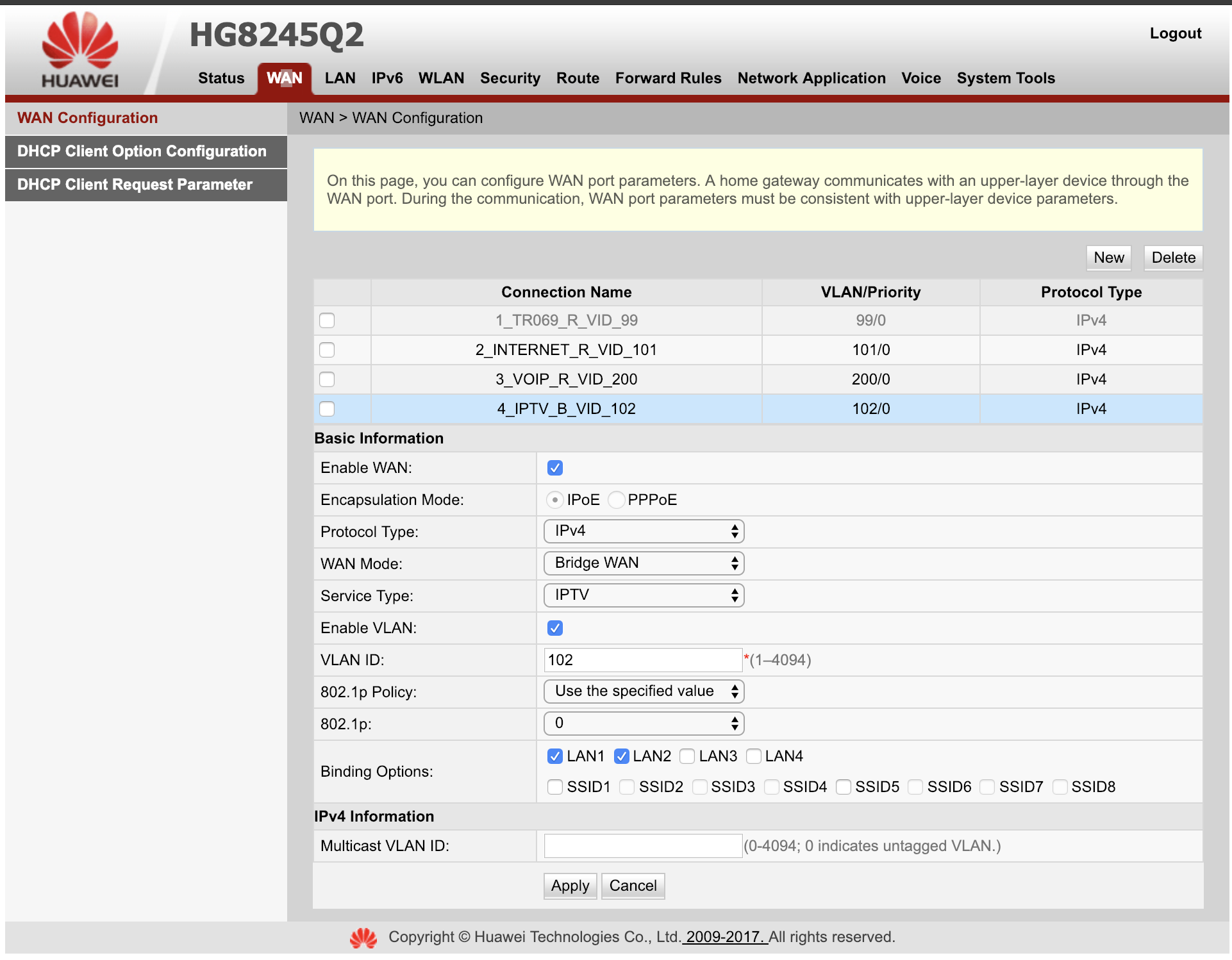 How to bridge a port of HG8245Q2 to a specific VLAN with TR-069 or