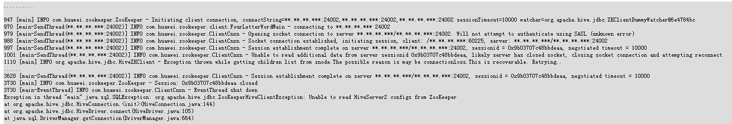 Failure of Running Hive JDBC Sample Code - Huawei Enterprise
