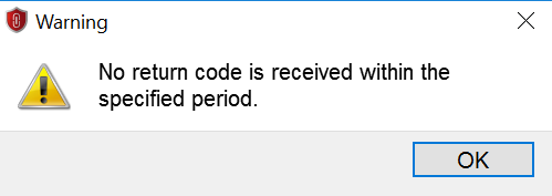 no return code is received within the specified period